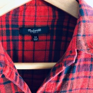 Madewell Tops - Madewell Red Plaid Flannel Shirt
